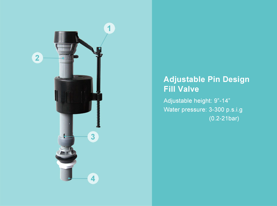 A2042+A2043 Adjustable Pin Design Fill Valve